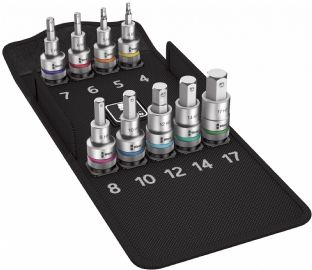 "Wera 05004201001 8740 C HF 1 9 Piece 1/2"" Drive Metric Zyklop In-Hex Holding Function Socket Set"
